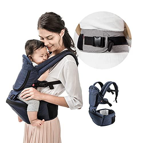Portabebés para Niños y Recién nacidos hasta 20 kilos MiaMily HIPSTER+, Mochila para bebé Senderismo con 6 Posiciones y Diseño Ergonómico con protección para las caderas del bebé o niño (Denim Blue)