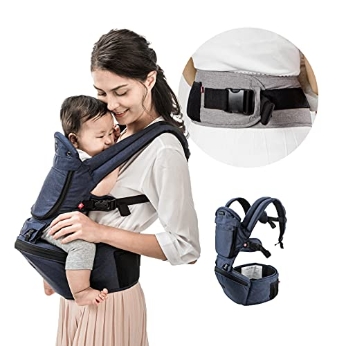 MiaMily Hipster Plus Hip Seat Baby Carrier 6-in-1 Front and Back, Lumbar Support, for Newborn to Toddler, Storage, Dark Blue