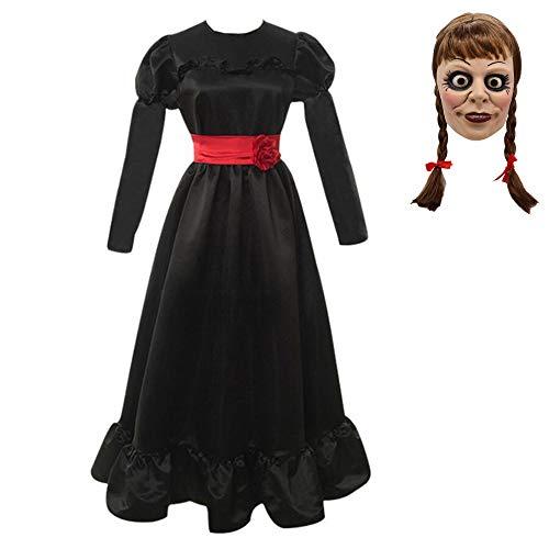 EOO Annabelle Cosplay Disfraz de Halloween Cos Costume Horror Scary Vestido Blanco Negro para Niñas Mujeres Juego de Roles Manga Larga Rosa Roja Pajarita Vestido Largo Fancy Dress