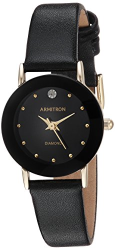 Armitron Women's 75/2447BLK Diamond-Accented Watch with Black Leather Band