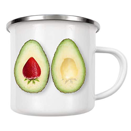 artboxONE Emaille Tasse Avocado Strawberries von igorkalatay - Emaille Becher Essen & Trinken