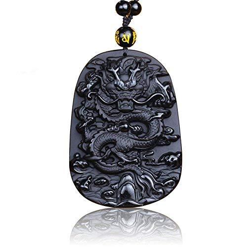 Moda clásica estilo chino Suerte de Buda Obsidiana / Dragón dorado de Obisdio Valiente Mans Collar colgante de péndulo de piedra de cristal con cadena de obsidiana a juego (Black)