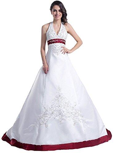 Edaier Frauen Perlen Halfter Bestickt Satin Kleid Vintage Braut Brautkleid Größe 38 Weiß Burgund