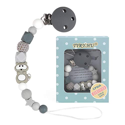Schnullerkette jungen mädchen Dummy Clips Baby Schnuller Halter Silikon Waschbär Koala Elefant Beißring Perlen BPA Frei (Grau)