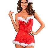 TUDUZ-Damen Dessous Set Weinachten Chrismas Kostüm Lingerie Nicolaus Weihnachts Babydoll Negligees Nachthemden Rot(Rot-B,Large)