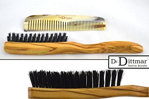 Dr. Dittmar Olivenholz Haarbürste mit echten Wildschweinborsten und echter Hornkamm aus dem Horn des Afrikanischen Watussi Rindes