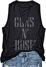 LAKITY Guns N' Roses Cut Out Tank Tops Womens Summer Sexy Hollow Out V Neck T Shirt, Black, Medium
