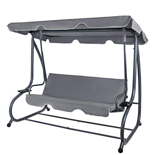 Montafox 4-Sitzer Hollywoodschaukel Gartenschaukel klappbar mit Bettfunktion mit Sonnendach und Liegefunktion für 4 Personen, Farbe:Asphaltgrau