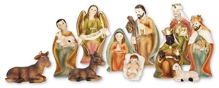 Loving Jesus Christmas NATIVITY SET/HOLY FAMILY Gloria Angel 11 Figures 2 3/4' Resin