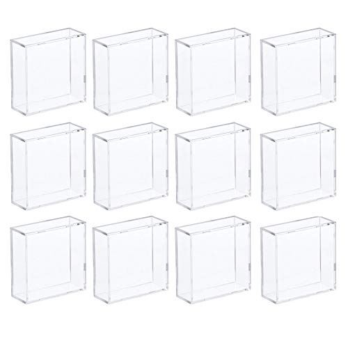 Hockey Puck Display Case Cube Square Holder - 12 Count