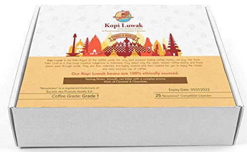 Monkey Business Coffee Pods - Wild Kopi Luwak Coffee in Nespresso Compatible Capsules - 25 Capsules - Sustainably Sourced (from Indonesia)