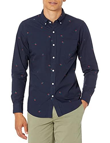 Goodthreads Men's Slim-Fit Long-Sleeve Dobby Shirt, -navy rose, X-Small