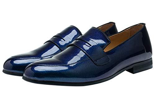 Mocassini Uomo Estivi Pelle Verniciata Slip-on Penny Loafers Pantofole Elegante Lavoro Casual Scarpe da Guida Blu 45 EU