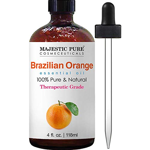 Majestic Pure Brazilian Orange Essential Oil, 100% Pure and Natural with Therapeutic Grade, Premium Quality Brazilian Orange Oil, 4 fl. oz