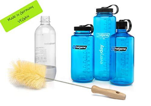 ktDesign extra breite Flaschenbürste für Trinkflaschen, insb. Nalgene, SodaStream, 720° – Flaschenreiniger für eine schonende & kratzerfreie Reinigung von Trinkflaschen, VEGAN, Made in Germany