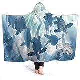 coperta con cappuccio in flanella,Tartaruga di mare, leggera, comoda e leggera, ideale per tutte le stagioni, per bambini, donne e uomini 50x40 inch