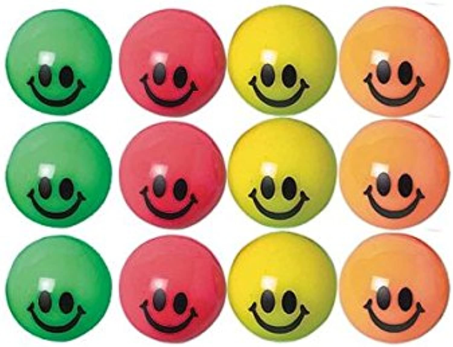 Fun Smiley Bounce Balls Party Toy Favour and Prize Giveaway, 35mm, Pack of 12.