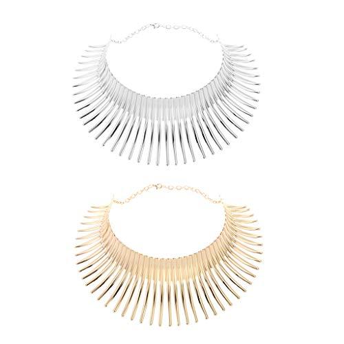 oshhni Collar de Borlas Gruesas con Cadena de Gargantilla Elegante de 2 Piezas, Longitud Total: 42 Cm