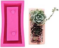 3Dラウンド&SquareFlowerポットシリコーン型、多肉植物花瓶植木鉢金型、DIY燭台キャンドルホルダーモールド (Color : Square 01)