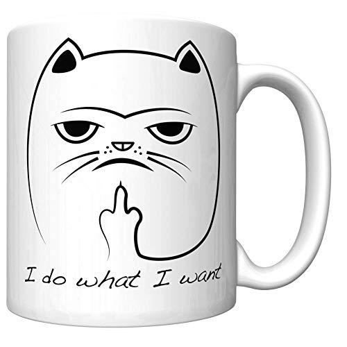 I Do What I Want - Funny Cat Coffee Mug (Flipping Bird) BQCX8K