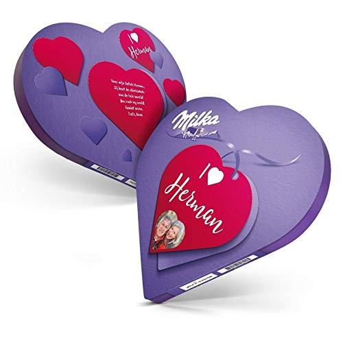 Schokolade personalisiert - Milka Schokoladenherz mit Name und Text - Mit Liebe gemacht von YourSurprise