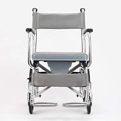 XUSHEN-HU Silla de ruedas ligera plegable para conducción médica, silla de ruedas con carro viejo sentado, aleación de aluminio para discapacitados, portátil, multifunción, bañera Hdh ligera