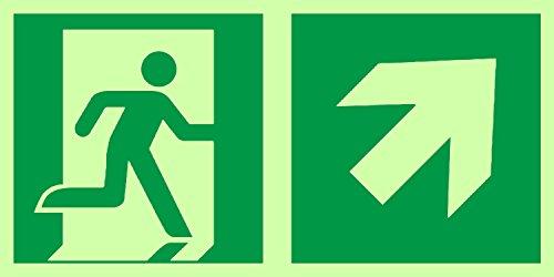 Anro Warnschild für Notausgang E002/3   Nachleuchtendes PVC Sicherheitsschild Fluchtweg   Selbstklebend Rettungsweg-Schild für Betriebe, Produktion & Kliniken   Farbe: Grün