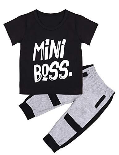 Kleinkind Kleinkind Baby Kurzarm Mini Boss Printing Tees Sweatshirt Top und Hosen Outfit Set