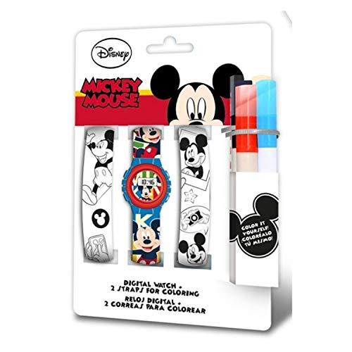 Mickey Mouse Reloj Digital Correa para Pintar (WD20326), Multicolor (Kids Licensing 1)