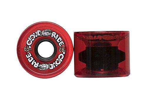 Cloud Ride! Wheels Cruiser 69mm 78A Longboard Wheels, Clear Red
