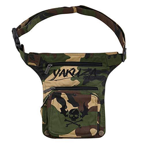 Yakuza Damen Herren Unisex 3 in 1 Gürtel Bauch Bein Umhänge Crossover Tasche Camouflage Green