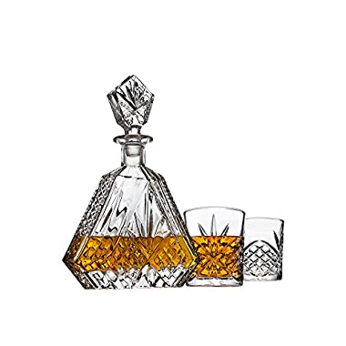 Whiskey Decanter set for Liquor Scotch Bourbon or Wine, Includes 2 DOF whisky glasses - Irish Cut Triangular