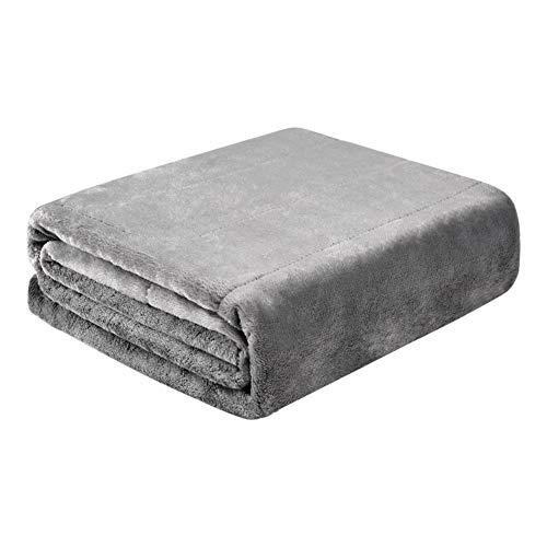 GGYDD Plüsch Elektrische Heizdecke Rücken,USB Heizdecke Rücken Zu Auto,Indoor Elektrische Werfen Decke Wärmematte Für Couch Oder Bett Hellgrau 140x80cm(55.1x31.5inch)