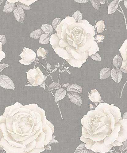 Floral Linen Effect Wallpaper Roses Flowers Grey Cream Textured Belgravia Decor from YöL