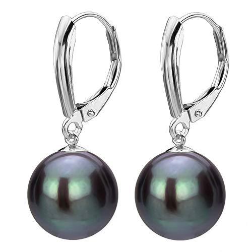 14K White Gold Leverback Freshwater Cultured Black Pearl Dangle Earrings for Women 9-9.5mm