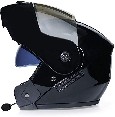 ZLYJ Casco De Motocicleta Plegable con Bluetooth, Doble Visera, Cara Abierta, Casco De Protección para Motocicleta, Casco Abatible Multifunción, Aprobado por ECE para Mujeres Y Adultos A,L
