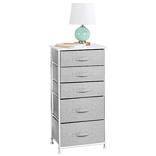 mDesign Cómoda de tela – Práctico organizador de armarios con 5 cajones en dos tamaños – Cajonera estrecha para dormitorio y habitaciones pequeñas – gris/blanco