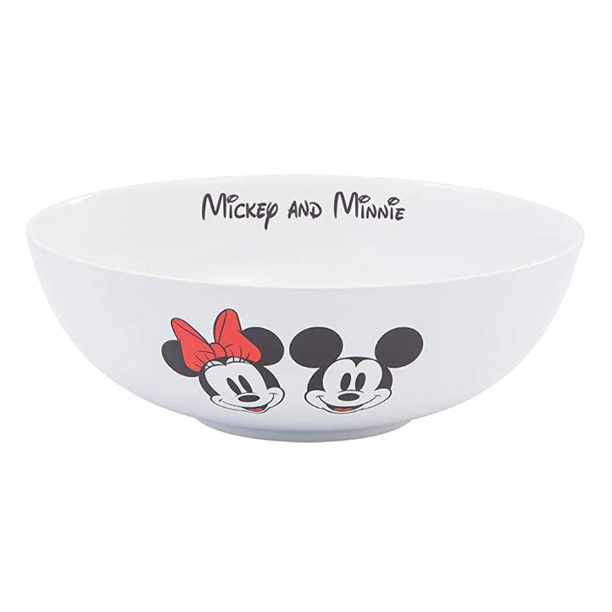 Vandor Disney Mickey and Minnie Mouse Ceramic Serving Bowl (89236) - 10 Inch Diameter - White