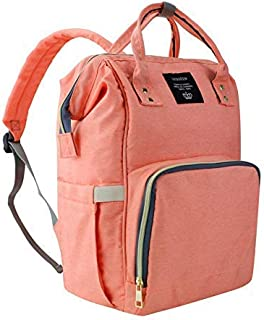 Diaper Bag Multi-Function Waterproof Travel Backpack Nappy Bags for Baby Care, Large Capacity, Stylish and Durable, Orange