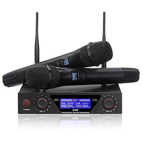 NASUM UHF Dual Channel Professional Handheld Wireless Microphone System with Dual Wireless Dynamic...