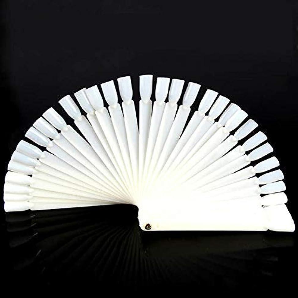 やむを得ない激怒きらめきOnior 50のヒント透明の扇形のネイルアートのヒント表示練習スティックツールマニキュアファン形状ジェル耐久性と実用的