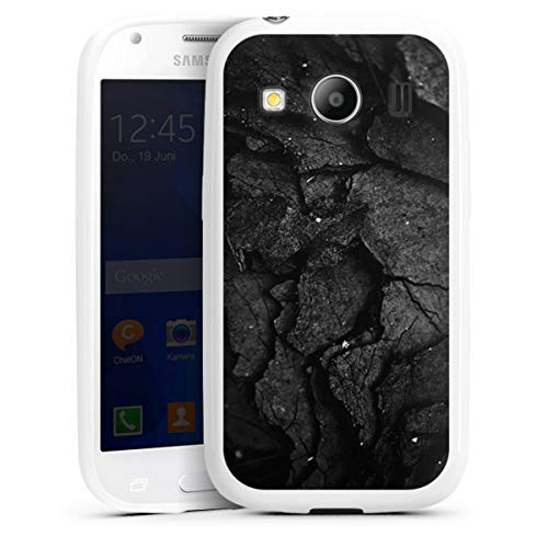 DeinDesign Silikon Hülle kompatibel mit Samsung Galaxy Ace 4 Hülle weiß Handyhülle Beton Men Style Black und White
