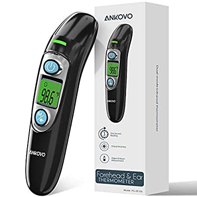 Forehead and Ear Thermometer for Adults, Kids and Baby Dual-Mode Infrared Thermometer for Fever, with Memory Recall, Digital Thermometer, Pouch and Batteries Included?2020 New?