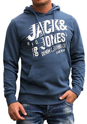 Jack and Jones Sweat-shirt à capuche à manches longues et col rond avec imprimé pour homme - Bleu - X-Large