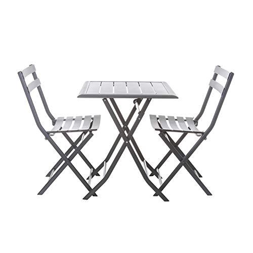 Set tavolo in metallo con coppia di sedie pieghevoli