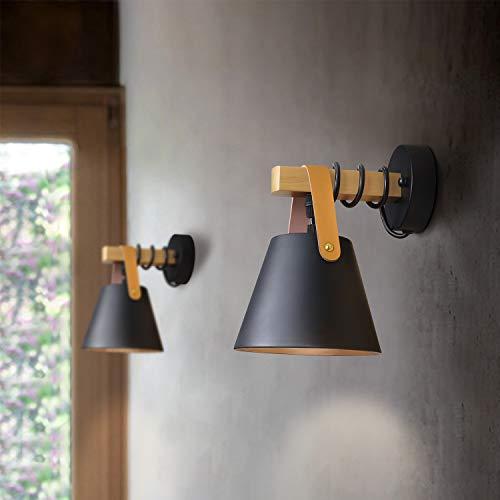 GBLY Wandleuchte Schwarz Retro Wandlampe Holz Vintage E27 Industrie Wandbeleuchtung Innenbeleuchtung für Schlafzimmer Küche Esszimmer Flur Treppenhaus Hotel Cafes (ohne Birne)
