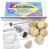 """Dancing Bear Rock & Mineral Science Activity Kit (10 Pc Set for 5 Lab Experiments), Grow Your Own Crystals, Crack Open Geodes, Magnetic Lodestone, Float a Rock,""""TV"""" Stone, Fun STEM Geology Exploration"""