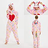 SMYFM Albornoz 2019 Winter Adult Animal Pyjamas Sets Cartoon Sleepwear Unicorn Pajamas Stitch   Women Men Warm Flannel Hooded, Pink Love Unicorn, S