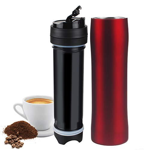 Cafetera portátil de prensa francesa, taza de viaje aislada al vacío, a prueba de fugas, botella de café versátil, acero inoxidable, color negro rosso