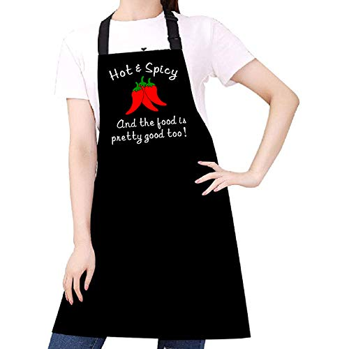 Funny Aprons for Women Men, Adjustable Kitchen Chef Aprons with two Pockets for Cooking Baking, Birthday, Valentines Day, Mother's Day Grill Apron Gifts for Mom Wife Girlfriend - Hot spicy